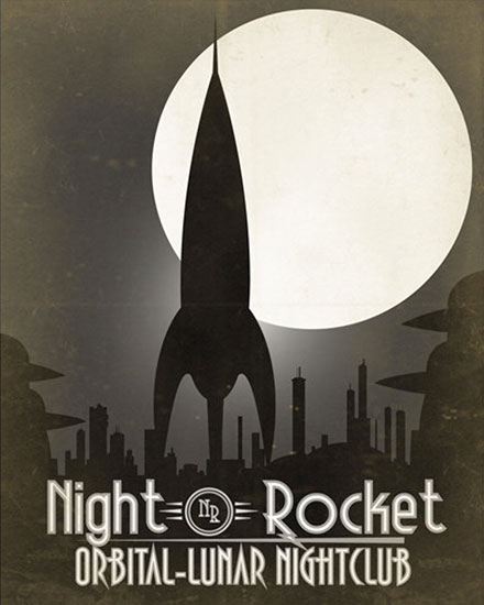 Night Rocket Oribital Lunar Nightclub Poster