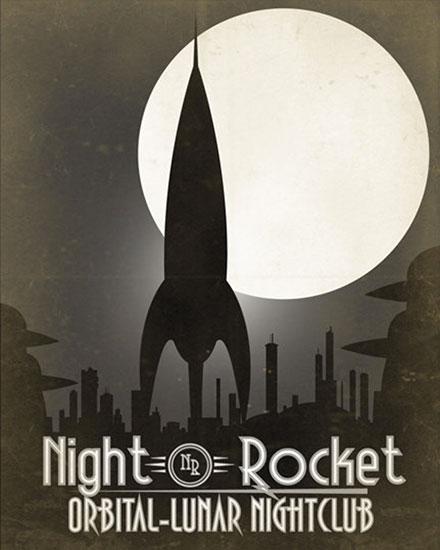 Night Rocket Oribital Lunar Nightclub Poster