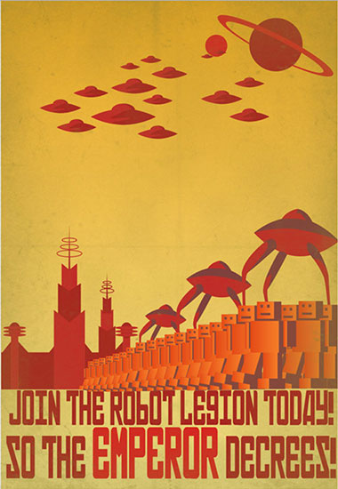 Retro Robot Recruitment Poster