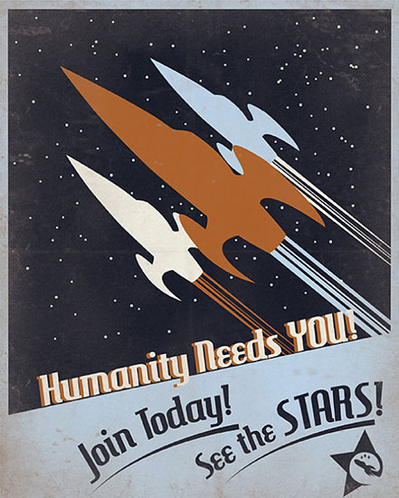 See The Stars Retro Science Fiction Poster
