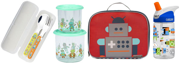 Retro Robot School Lunch Supplies