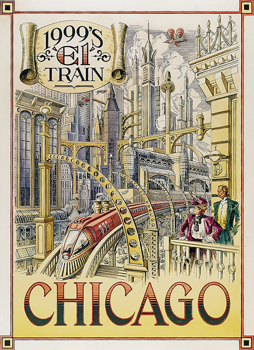 Disneyland Paris - Retrofuture Chicago El Train Poster