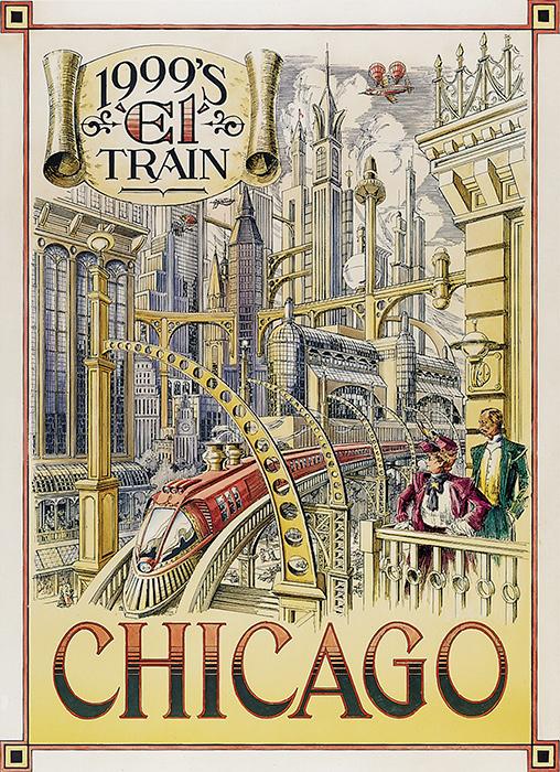 Disneyland Paris - Retrofuture Chicago El Train Poster