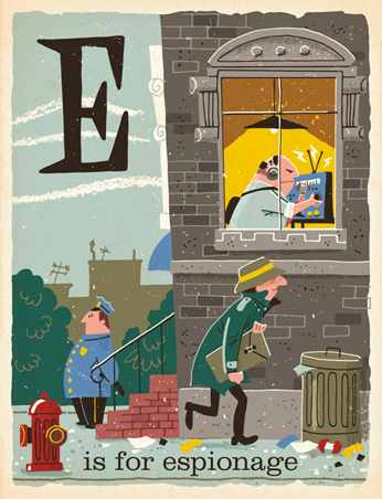 E is for Espionage - 1950s illustrations