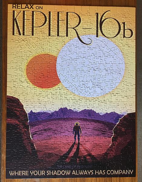Kepler 16-B Nasa JPL Vintage Travel Poster Puzzle