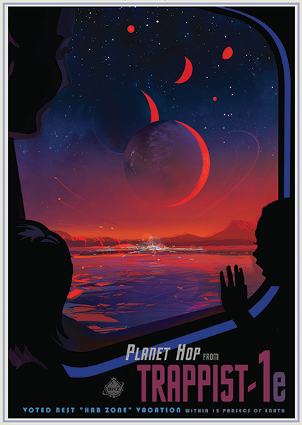 Trappist 1a NASA JPL Space Travel Posters