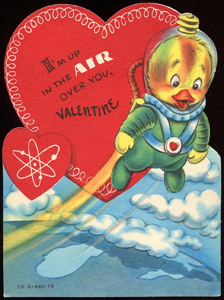 Atomic Age Jetpack Duck Vintage Valentine