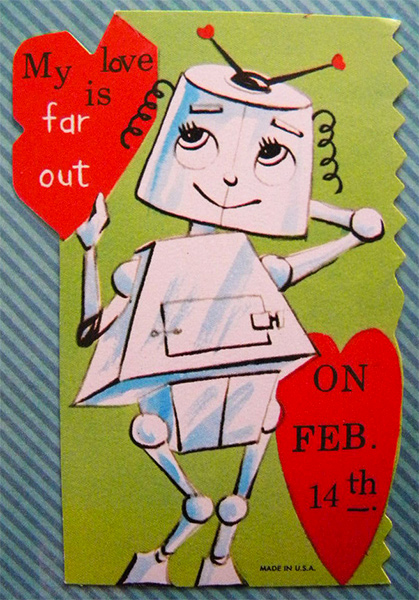 Love is Far Out Retro Robot Valentine's Day Card