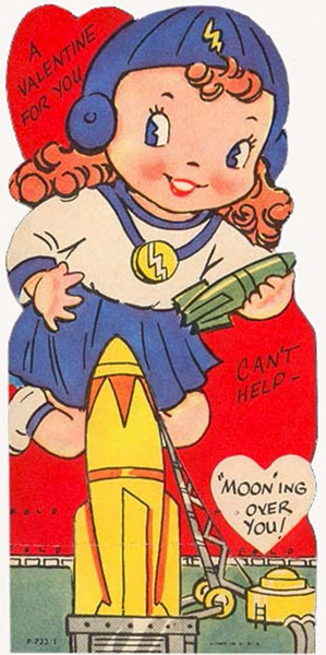 Mooning Over You Retro Rocket Valentine