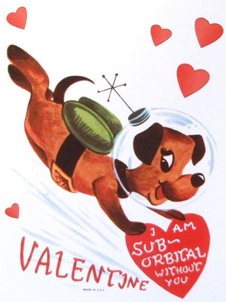 Vintage Astronaut Dog Space Valentine