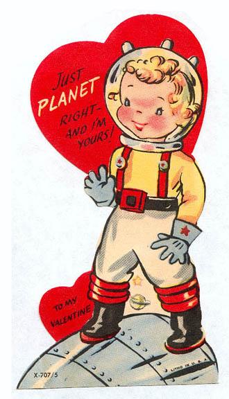 Vintage Valentine's Day Astronaut